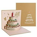 hellomagic 3D Pop Up Grußkarten Geburtstag, Pop-Up gefaltete Karte mit 3 Schichten Kuchen, Geburtstagskarte mit Umschlag für sie, Mama, Kinder(Gold)
