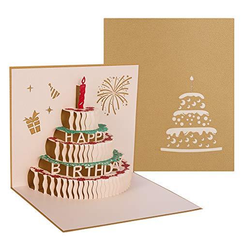 hellomagic 3D Pop Up Grußkarten Geburtstag, Geburtstagskarte mit Schönen Papier-Cut und Umschlag, Geschenk für Ihre Familie, Freunde und Liebhaber Special (Gold)