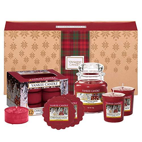 Yankee Candle Set de Regalo Aromático con Una Vela en Tarro Pequeño, 2Velas Votivas, 12Velas de Té y 2Ceras, Magia Navideña, Estuche de Regalo Navideño