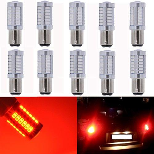 KaTur - Lot de 10 ampoules Ambre - Grande luminosité 750lums 1157 BAY15D 1016 1034 1196 2057 2357 - Base 27 SMD 5050 - LED de remplacement pour voiture - Ampoule camping car - Freinage - Clignotant - Lampe - Lumières - DC 12 V 8000 K