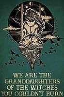 私たちは魔女の孫娘ですハロウィーンのブリキの看板レトロなスタイルのミラービールバーデンハロウィーンの絵画の金属