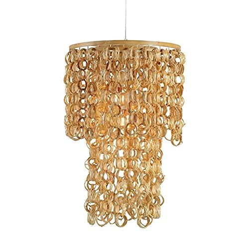 BOOHR Lámpara Colgante De Mimbre De Bambú Candelabro Moderno Y Sencillo Sombra De Ratán Lámparas De Techo para Pasillo, Comedor, Vestíbulo, Lavadero, Baño, Puerta De Entrada