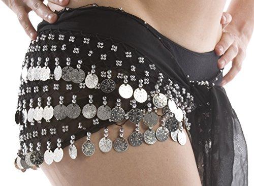Pañuelo para danza del vientre de The Turkish Emporium, de gasa con 3filas de monedas, cinturón con 128monedas, mujer, color negro / plateado, tamaño talla única