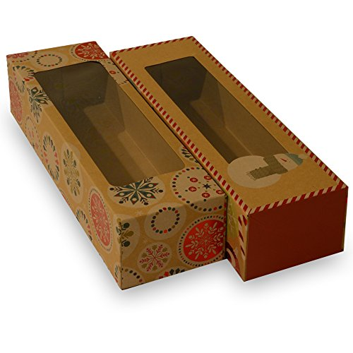 Christmas Doughnut and Cookie gift boxes; rectangle with clear window; brown kraft with hot stamp Christmas designs; 6 of each print; set of 12 boxes (12 x 3.75 x 2.75) (12, 12 x 3.75 x 2.75)