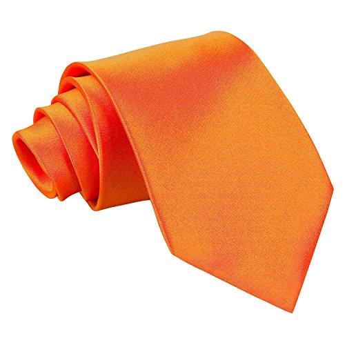 DQT Neuf Uni Satinée Haute Qualité Classique Élégant Homme Mariage Fashion Tenue d'affaire 9cm Cravate Orange Brûlé