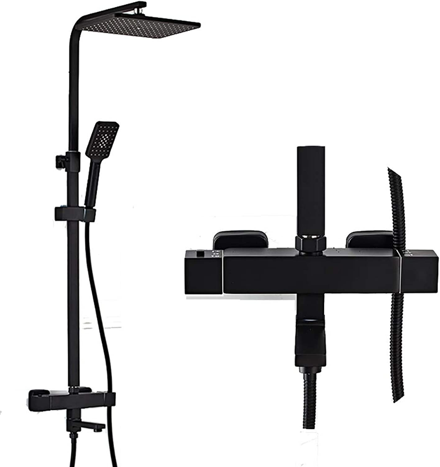 YYF-SHOWER Shower Systems European Shower Set Wall-mounted Hand Shower Bathroom Cold hot Water Tap, Brass (color   Black)