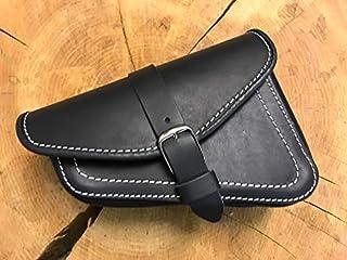 ORLETANOS Muscle Black & White Sattelasche von kompatibel mit rechts rechte Seite weiße Naht Ledertasche Werkzeugtasche Seitentasche Vrod V Rod Nightrod Night HD Tasche Leder schwarz