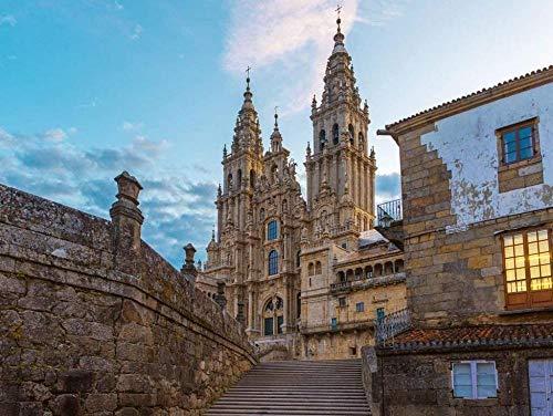 DFGJ Rompecabezas Antiguo Gótico Catedral de Santiago de Compostela, Galicia, España 1000 Piezas (75 * 50 cm)