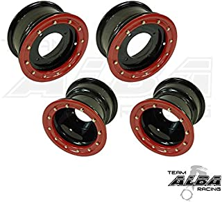 TRX 450R TRX 400EX ATV Set of 4 Beadlock Wheels Rims - Compatible with Honda - Rear 9x8 3+5 Front 10x5 3+2 Black/Red