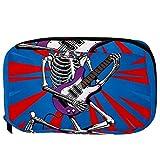 TIZORAX Borse cosmetiche Cranio che suona la chitarra Pratica borsa da viaggio da toeletta...
