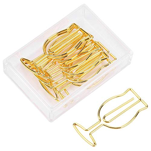 10 stks Wijnglas Papier Clip Metaal Gouden Grappige Document Clips voor School Office Bladwijzer Organisatie briefpapier