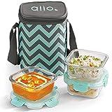 Allo FoodSafe 310ml x 3 Glass Lunch Box with Break Free Detachable Lock