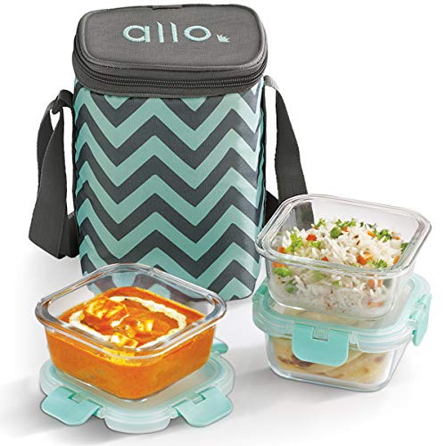 Allo FoodSafe Microwave Safe Glass Lunch Box with Break Free Detachable Lock | 450°C Oven Safe High Borosilicate | Office Tiffin with Chevron Mint Flat Bag | Set of 3, Square 310ml