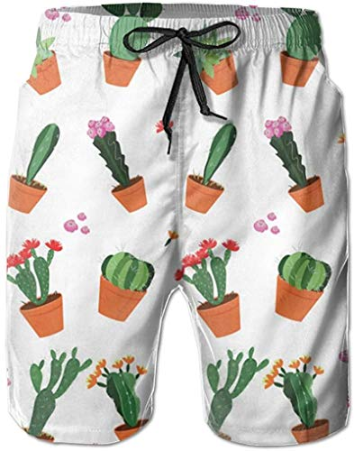 Pantalones Cortos de Playa de Verano con jardín de Cactus para Hombre Pantalones de natación de Secado rápido para Ocio, 3XL
