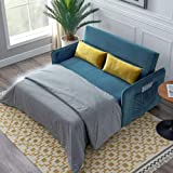 Merax Sleeper Sofa Couch Compact Soft Velvet Sofa Bed Pull-Out Sleeper Sofa 2 in 1 Sofa Bed (with 2 Lumbar Pillow),Blue