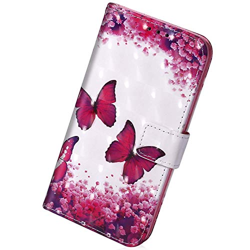 Herbests Kompatibel mit Samsung Galaxy A20e Handyhülle Leder Hülle Bunt Glänzend Glitzer Muster Klapphülle Flip Case Brieftasche Kartenfächer Schutzhülle Magnetverschluss,Rosa Schmetterling