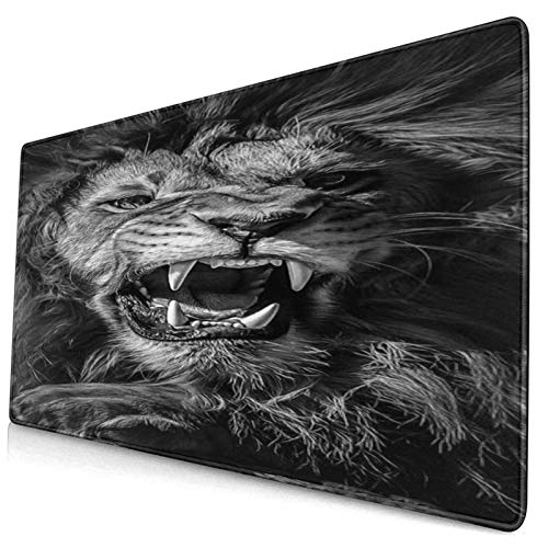CANCAKA Large Gaming Mouse Pad,Modern Black and White Art Picture of A Roaring Male Mighty Lion,Non-Slip Rubber Mouse Pads Mousepad for Gaming Computer Office Desk,75×40×0.3cm