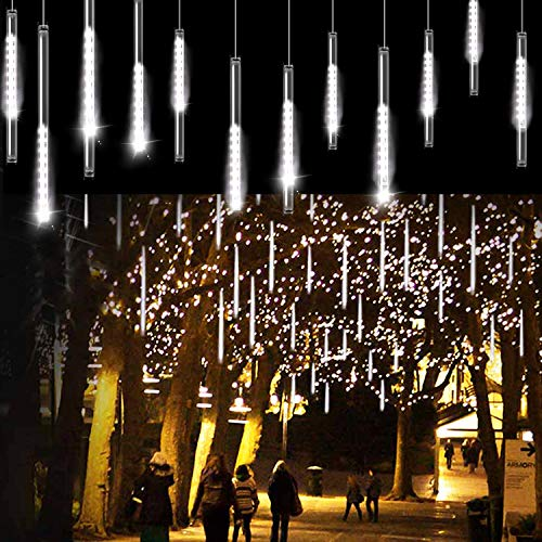 Aluan Meteor Shower Rain Lights 20 Inch 12 Tube 576 LED Waterproof Plug in Falling Rain Fairy String Lights for Halloween Christmas Holiday Party Home Patio Outdoor Decoration, Cool White