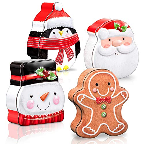 Whaline Tin Box Xmas Card Tin Box Metal Cookie Tin Box with Lid Assorted Card Holder Containers for Party Decor Supplies Santa Clause Snowman Gingerbread Penguin, 4 Pack