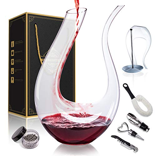 1500ML Crystal Glass 51 Oz Wine Decanter Wine Carafe Gifts for Red Wine Lover, Decanter with Wine Accessories - Wine Bottle Opener, Wine Stopper & Pourer, Cleaning Brush & Beads, Drying Stand