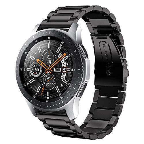 SUNDAREE Kompatibel mit Galaxy Watch 46MM Armband,22MM Metallarmband Armband Edelstahl Uhrenarmband Ersatz für Samsung Galaxy Watch 46MM SM-R800/Galaxy Watch 3 45MM/Gear S3 Frontier(46 Schwarz)