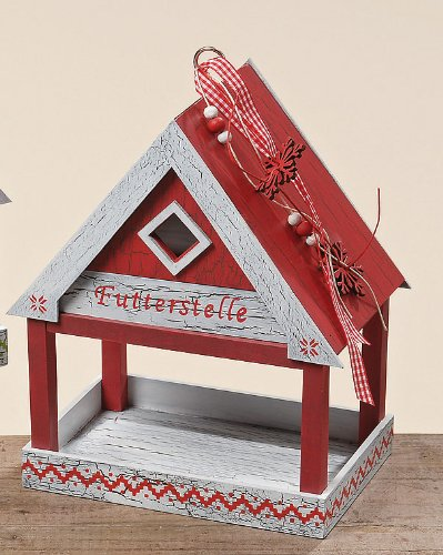 Farbenfrohes Futterhaus / Vogelhaus im Norwegerlook (rot/weiß)