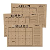 Rustic 2020-2021 Large Monthly Desk or Wall Calendar Planner, Big Giant Planning Blotter Pad, 18 Month Academic Desktop, Hanging 2-Year Date Notepad Teacher, Mom Family Home Business Office 11x17'
