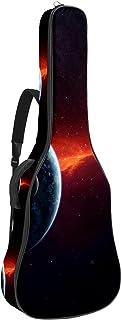 Akustisk gitarrväska röd kosmos planeter jorden justerbar axelrem gitarrfodral spelväska 102 x 102 cm