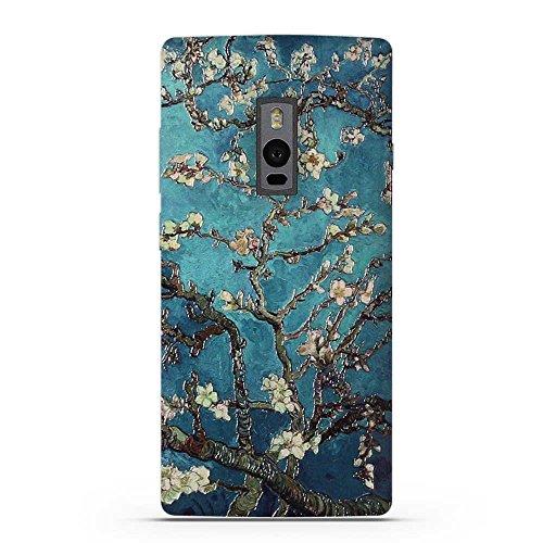 FUBAODA für OnePlus Two Hülle, 3D Erleichterung Klassische Blume Muster TPU Case Schutzhülle Silikon Case für OnePlus Two (1+2)