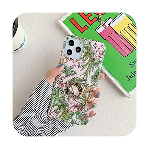Retro flor hoja anillo soporte teléfono caso para iPhone 12 12 Pro 11 Pro Max XR X XS Max 7 8 Plus SE 2020 12 Mini suave IMD contraportada T3-para iPhone 12Pro Max