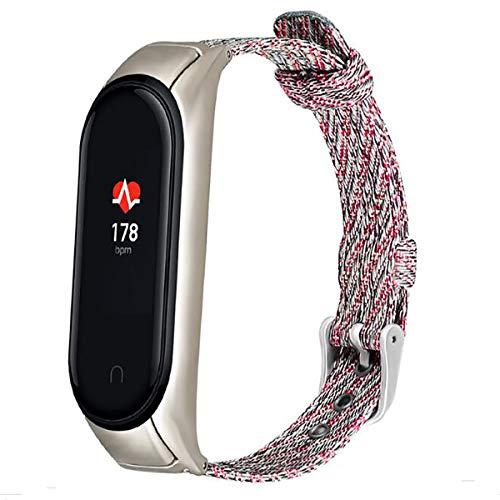 RYTECH Correa de pulsera para Xiaomi Mi Band 5, tela de nailon, correa de repuesto ajustable, pulsera inteligente deportiva para Xiaomi Mi Band 5, suave, hermosa, cómoda (rojo)