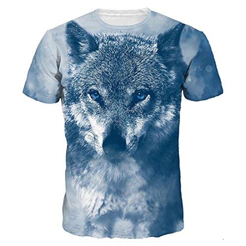 Lenfesh Camiseta Divertida Verano Camisa Unisex 3D para niño para Hombres Camiseta Estampada con Estampado de Animales Camiseta Manga Corta Tops Hombres Talla Extra (M, Azul)
