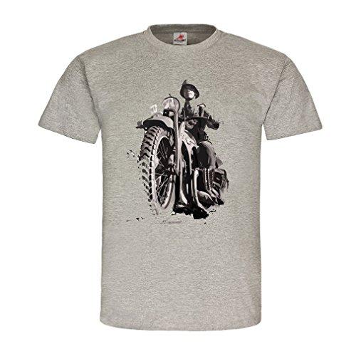 Kradfahrer Soldaten Motorrad Boxermotor Geländemotorrad R71 Bike Kradmelder schwere Maschine Oldtimer T-Shirt #20544, Größe:XL, Farbe:Grau