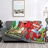 Clifford The Big Red Dog Blanket Lightweight Flannel Fleece, Throw Blanket for Sofa Bed Living Room, Ultra-Soft Blanket Fashion Print Warm Air Conditioning Blankets