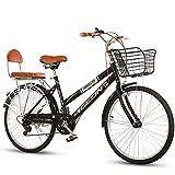 JACK'S CAT Bicicleta de Confort de 7 velocidades con Soporte Trasero, Bicicleta Holandesa, Bicicleta para Mujer, Cuadro de Acero al Carbono, Bicicleta clásica, Bicicleta Retro,Negro,24in