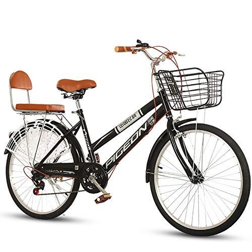 JACK'S CAT 7-Gang Komfort Fahrrad mit Rückenträger, Hollandrad, Damenfahrrad, Rahmen aus Kohlenstoffstahl, Klassisches Fahrrad Retro Fahrrad Trekking Stadt-Pendler-Damen,Schwarz,24in