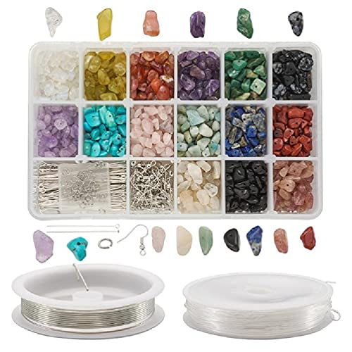 Tkdncbec 750pcs & More Natural Stone Beads Mixed,8mm(0.3in) 15/18 Styles Assorted Color Small Hole Stone for Bracelet Necklace Jewelry Making