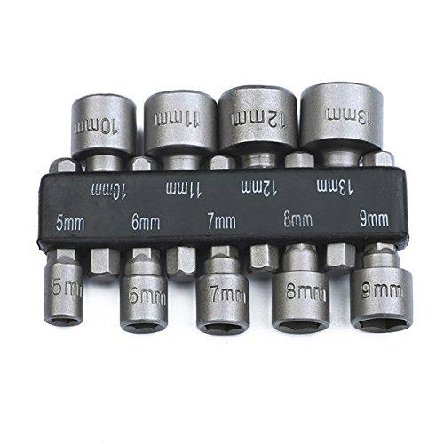 OUNONA 5-13mm Steckschlüssel Stecknuss Bit Adapter Set 1/4 Zoll Sechskantschaft für Akkuschrauber Bohrer Nüsse Ratsche 9 Stücke