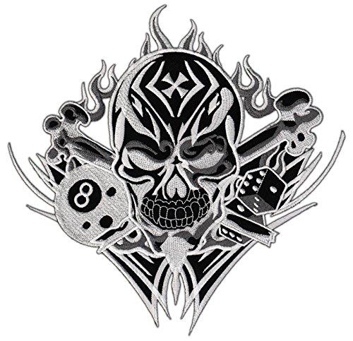 Totenkopf 8 Ball Tattoo Backpatch Rückenaufnäher XXL 21 x 21 cm
