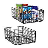 X-cosrack Pantry Basket Foldable Cabinet&Wall Mounted Metal Wire Basket Organizer - 2 Pack -16'x12'X6', Farmhouse Food Storage Mesh Bin with Handles for Kitchen Pantry Bathroom Laundry Closet Garage