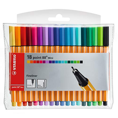 Fineliner - STABILO point 88 Mini - Astuccio da 18 - Colori assortiti