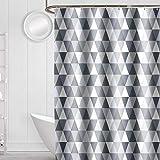 Xiongfeng Duschvorhang 240x200 Extra Breit Vorhang Textil Bunt Triangle Muster Blickdicht & Wasserdicht Shower Curtains aus Polyester mit 16 Duschvorhangringen & Beschwertem Saum
