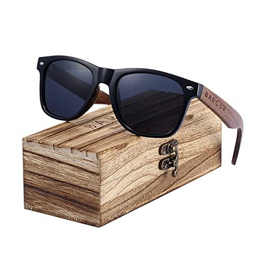 BARCUR Gafas de sol para hombres mujer de madera polarizadas de protección UV40, marco rectangular negro retro vintage caja Original de madera con bolsa de tela protectora y pañuelo de limpieza