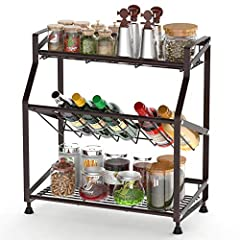 3 Tier and 45° Inclined Design: The 3 tier spice rack provides perfect space utilization solution, keep kitchen and bathroom clean and neat; 45° inclined design is convenient to store and take the bottles; 3 tier wire rack helps easily access to the ...