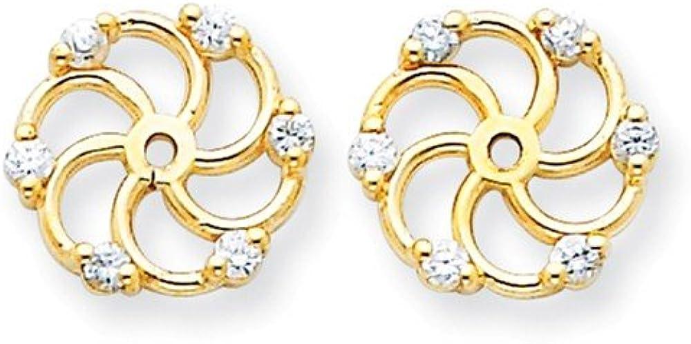 Solid 14k Yellow Gold VS Diamond Earring Jacket - 9mm x 10mm (.18 cttw.)