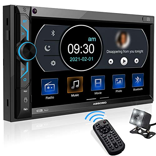 ABSOSO in-Dash Digital Media Car Stereo- Double Din 7 Inch HD Touchscreen Monitor, Bluetooth Audio /Hands-Free Calling, PhoneLink, USB/SD/Aux-in, AM/FM Radio, Backup Camera, Wireless Remote Control