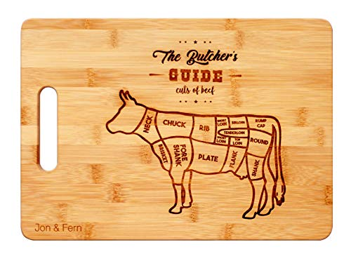 THE BUTCHER's GUIDE – Engraved Bamboo Cutting Board | Wood Cutting Board | Chopping Board |  Cutting Board | Butcher Block | Large Cutting Board | Cutting Board Wood | Wooden Cutting Boards