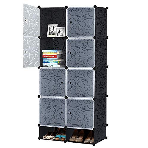 LARS360 DIY Kleiderschrank Regalsystem Garderobe aus Kunststoff Garderobenschrank Steckregalsystem Bücherregal Tragbarer Faltschrank mit Türen (8 Würfel Schrank mit Schuhregal)