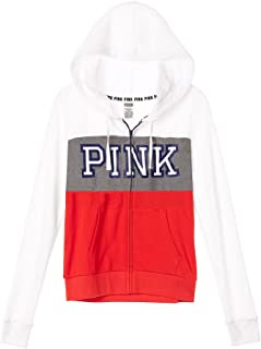 Victoria's Secret Pink Perfect Full Zip Hoodie Jacket Small White Gray Red