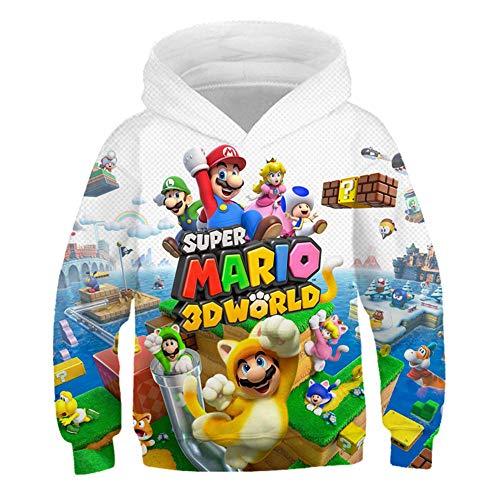 Sudaderas con Capucha de Otoño para Niños con Estampado de Mario, pequeños y niñas, Prendas de Vestir de Dibujos Animados de Moda Camisetas Manga Larga